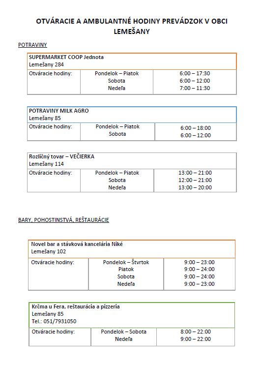 48df761a1a6c4 Otváracie hodiny - Oficiálne stránky obce Lemešany